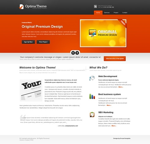 Template Image for Optima - Website Template