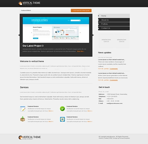 Template Image for VerticalTheme - Website Template