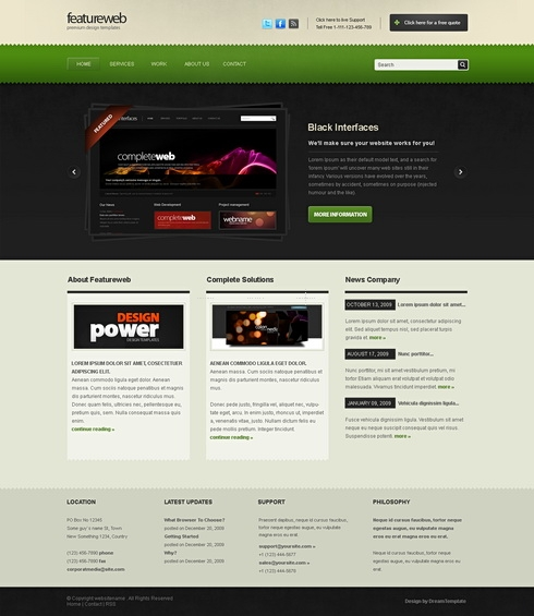 Template Image for FeatureWeb - Website Template