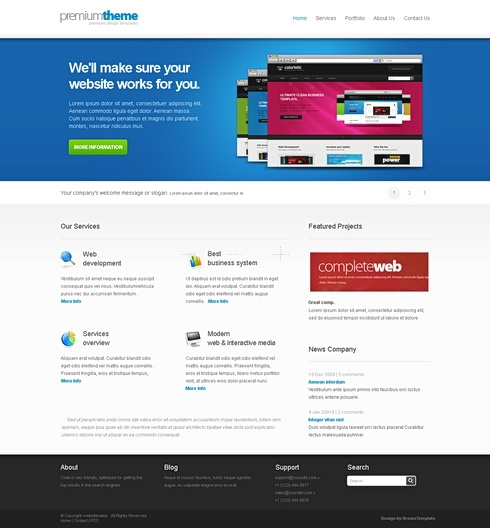 Template Image for PremiumBlue - Website Template