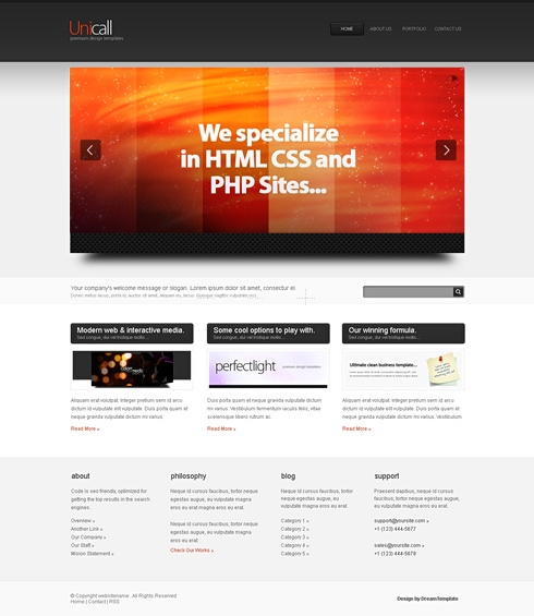 Template Image for Unicall-Cuber - HTML Template