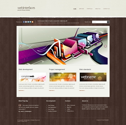 Template Image for WebInterfaces - Website Template