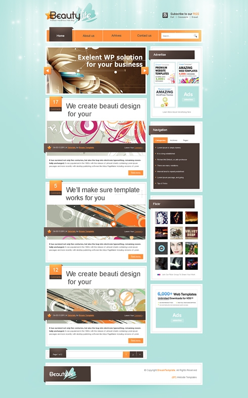 Template Image for LifeRay - WordPress Theme