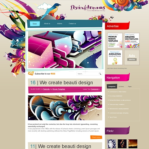 Template Image for FlyingDreams - WordPress Theme