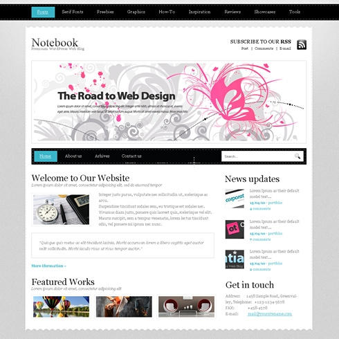 Template Image for NoteBook - WordPress Template