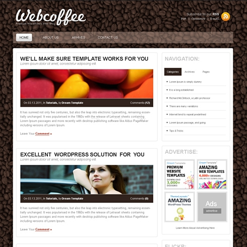 Template Image for CoffeeBlog - WordPress Theme