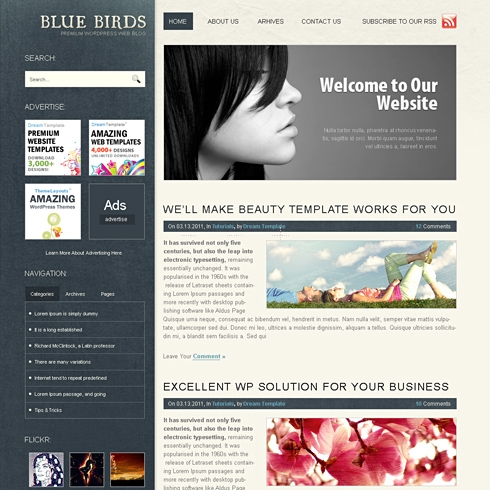 Template Image for BlueBirds - WordPress Template