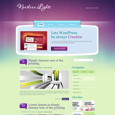 Template Image for NorthernLight - WordPress Theme