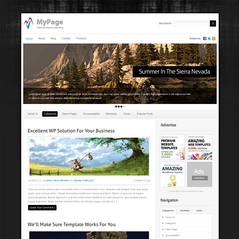 Template Image for MyPage - WordPress Template