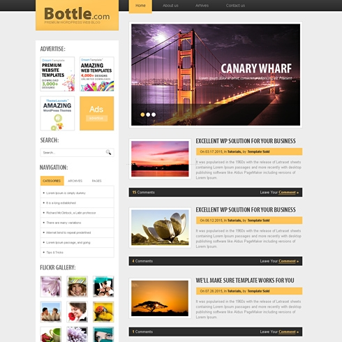 Template Image for BottleTop - WordPress Theme
