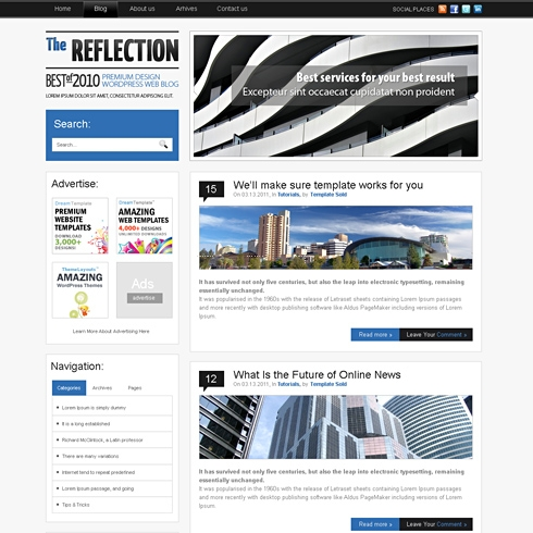 Template Image for Reflection - WordPress Theme