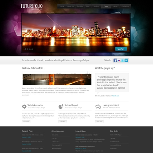 Template Image for FutureFolio -  HTML Template