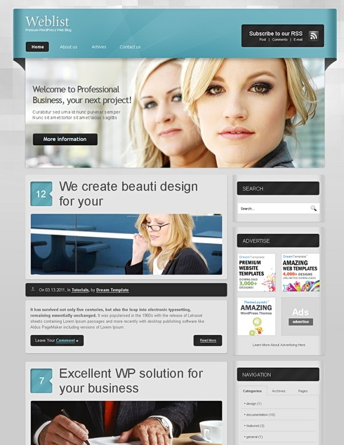 Template Image for WebList -  Website Template