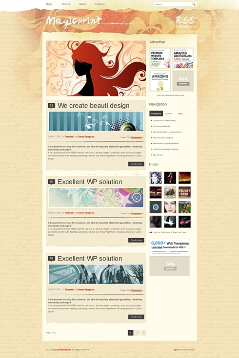 Template Image for MagicPrint -  Website Template