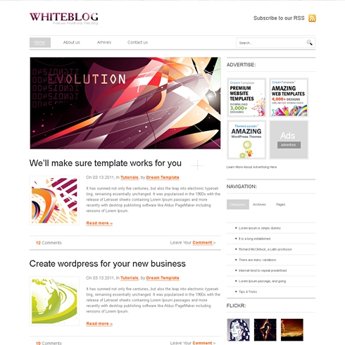 Template Image for WhiteBlog - Website Template