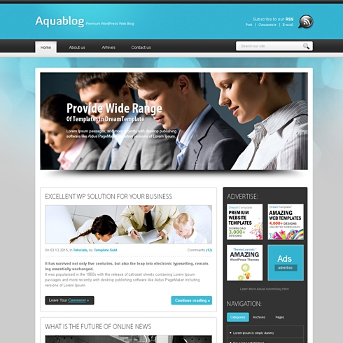 Template Image for AquaFuse - HTML Template