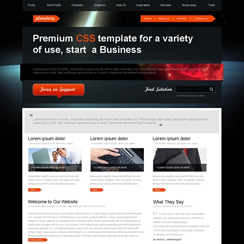 Template Image for Planetary - HTML Template
