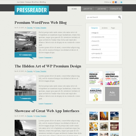 PressReader - CSS Template - Blog Style - Website Templates ...