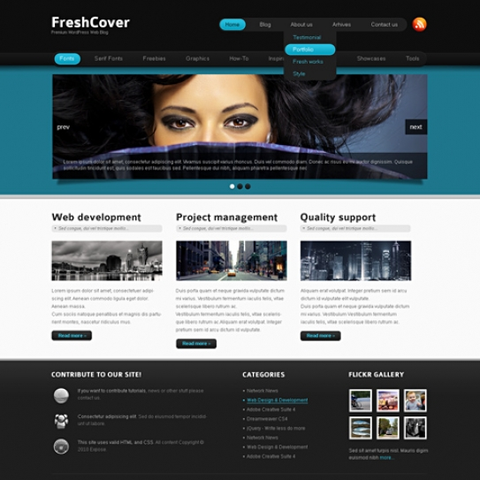 freshcover wordpress template wp personal creative wordpress themes. Black Bedroom Furniture Sets. Home Design Ideas