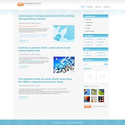 Template Image for IcyBlue - WordPress Theme