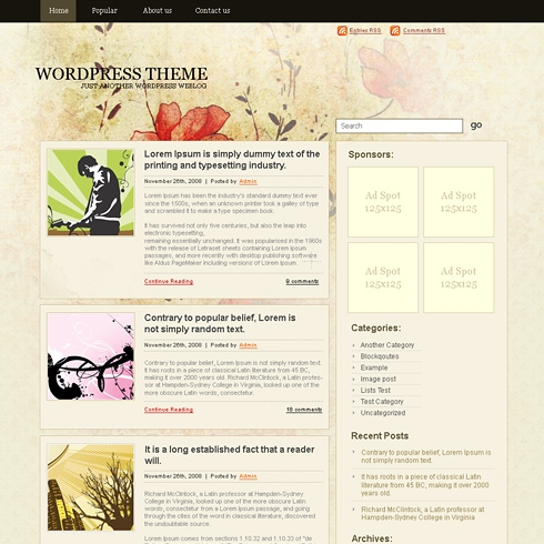 Template Image for ClassicFlowers - WordPress Theme