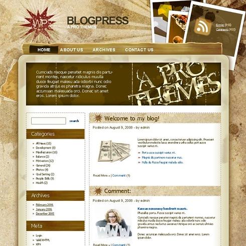 Template Image for GrungeSand - WordPress Theme
