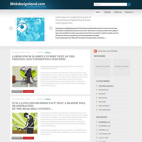 Template Image for BlueAtlantis - WordPress Theme