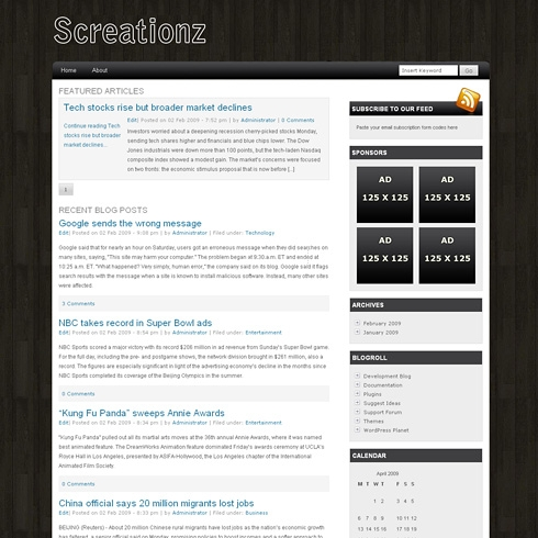 Template Image for Screationz - WordPress Theme