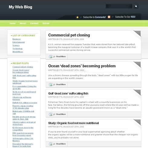 Template Image for GreenDark - WordPress Theme