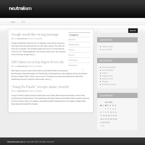 Template Image for Neutralism - WordPress Theme