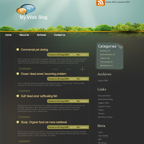 Template Image for DarkForest - WordPress Template