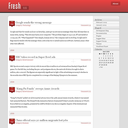 Template Image for FreshBlog - WordPress Theme