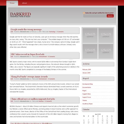 Template Image for DarkRed - WordPress Theme
