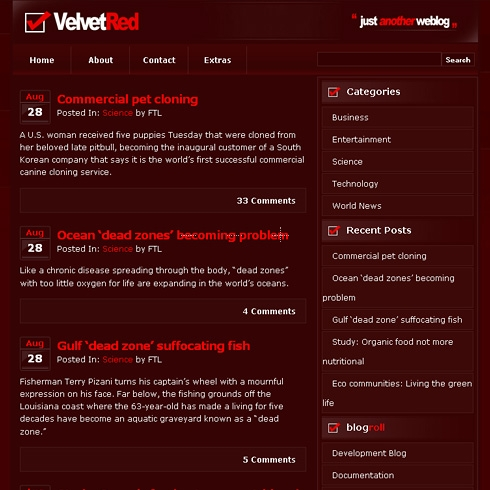 Template Image for Velvetred - WordPress Theme
