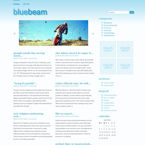 Template Image for BlueBeam - WordPress Theme