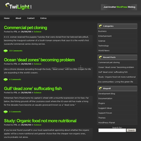 Template Image for Twilight - WordPress Theme