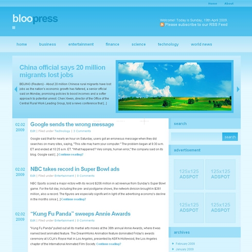 Template Image for BlooPress - WordPress Theme