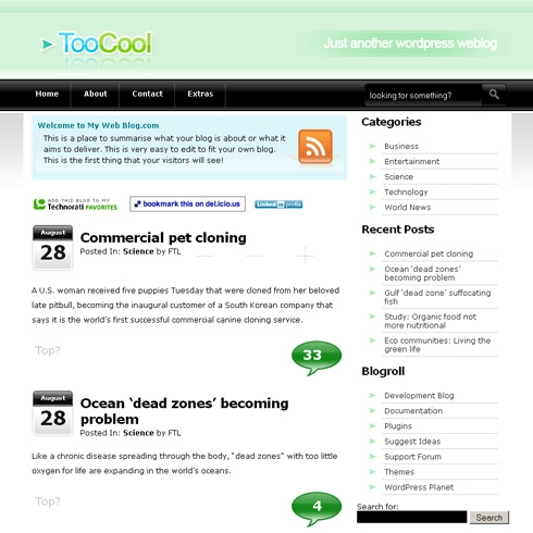Template Image for TooCool - WordPress Theme
