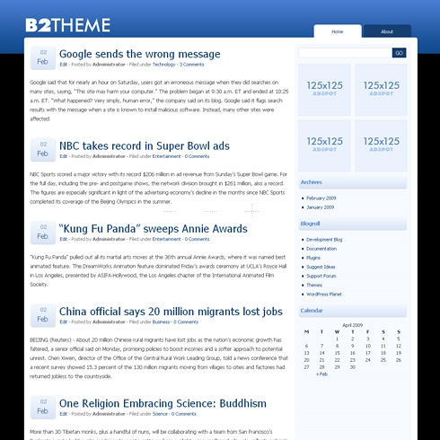 Template Image for B2Theme - WordPress Theme