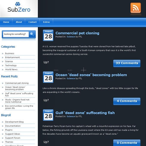 Template Image for SubZero - WordPress Theme
