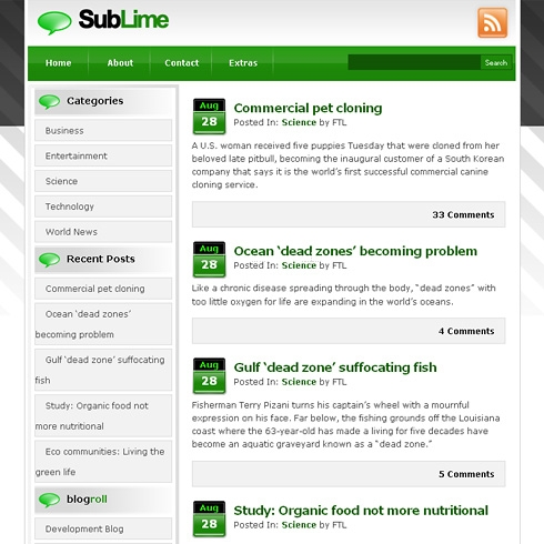 Template Image for SubLime - WordPress Theme
