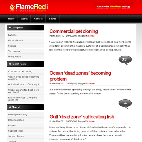 Template Image for Flamered - WordPress Theme