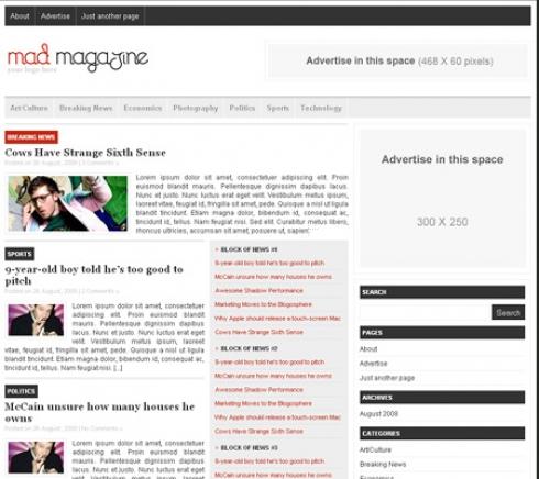 Template Image for MadMagazine - WordPress Theme