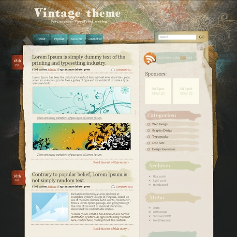 Template Image for VintageRainbow - WordPress Theme