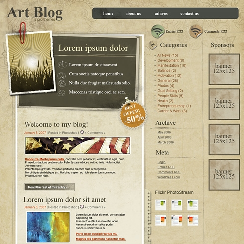 Template Image for OldArtpaper - WordPress Theme