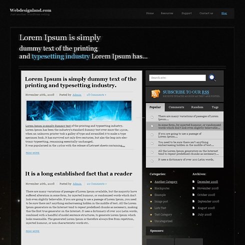 Template Image for DarkCosmos - WordPress Theme