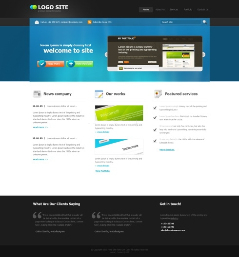 Template Image for BlueCorp - HTML Template