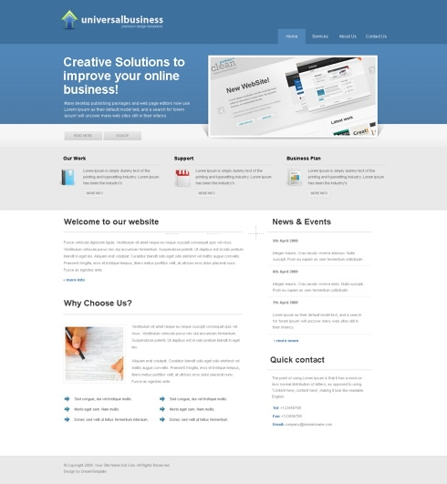 Template Image for DreamyBlue - Website Template