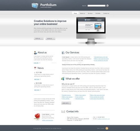 Template Image for PortFolium - Website Template