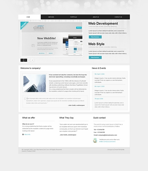 Template Image for GreyClean - Website Template